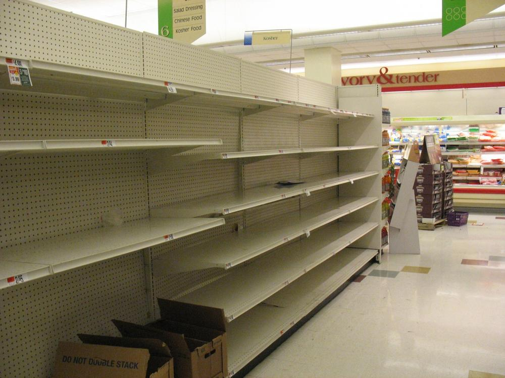 Customers rapidly drained area grocery and convenience stores of bottled water supplies. (Monica Brady-Myerov/WBUR)