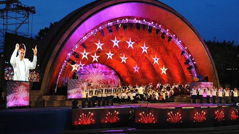 Keith Lockhart, on screen at left, conducts the Boston Pops on the Esplanade on July 3, 2009 in Boston. (AP)
