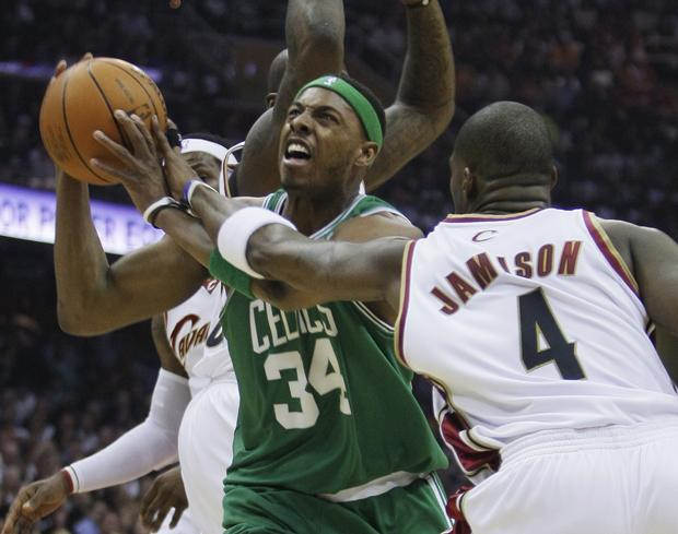 Boston's Paul Pierce is fouled by Cleveland's Antawn Jamison in the first quarter of Game 2 in the second round of the playoff series Monday in Cleveland. (AP)
