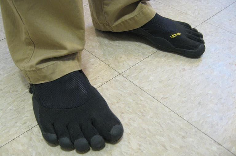 Evan Ferrell's very Paleo shoes — Vibram Five Fingers (Andrea Shea/WBUR)