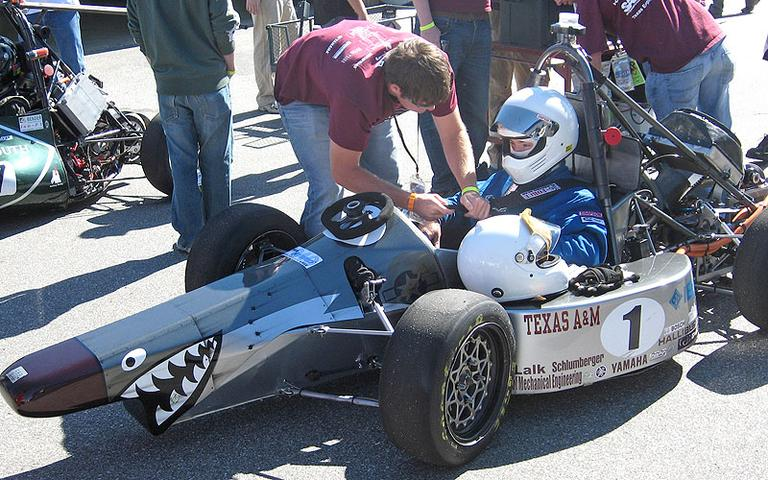 The Formula Hybrid International Competition began with two teams in 2006. Thirty teams registered this year. Texas A&M University won in 2009 and finished second to Italy's Politecnico di Torino this week. (Doug Tribou/WBUR)
