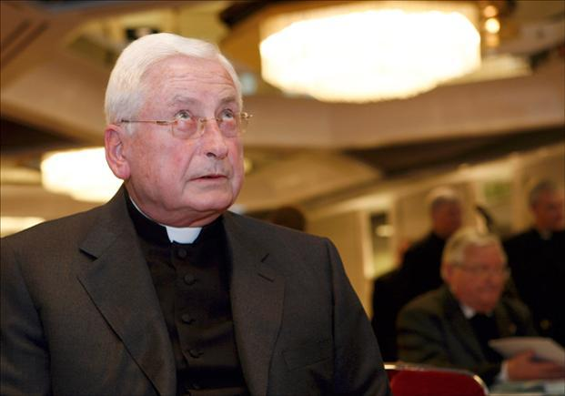 Augsburg Bishop Walter Mixa waits for the beginning of the Spring Assembly in Germany in this 2009 file photo. Pope Benedict XVI has formally accepted his resignation. (Focke Strangmann/AP)
