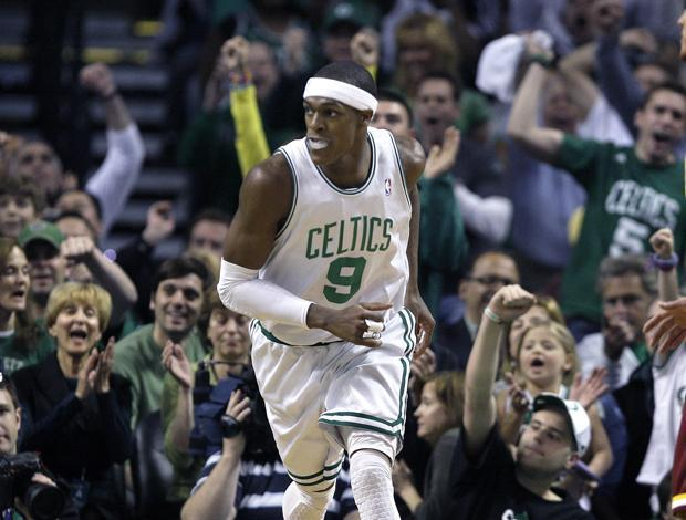 Fans cheers as Boston guard Rajon Rondo runs back upcourt after scoring against Cleveland during Game 4 in the second-round playoff series in Boston on Sunday. Boston won 97-87. (AP)