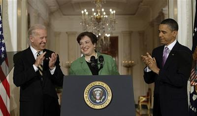 President Barack Obama and Vice President Joe Biden applaude as Solicitor General Elena Kagan is introduced as President Obama's choice for Supreme Court Justice in the East Room of the White House in Washington, Monday May 10, 2010. (AP)