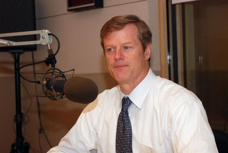 Republican gubernatorial candidate Charlie Baker in WBUR's Studio 3 on Monday (Jesse Costa/WBUR)