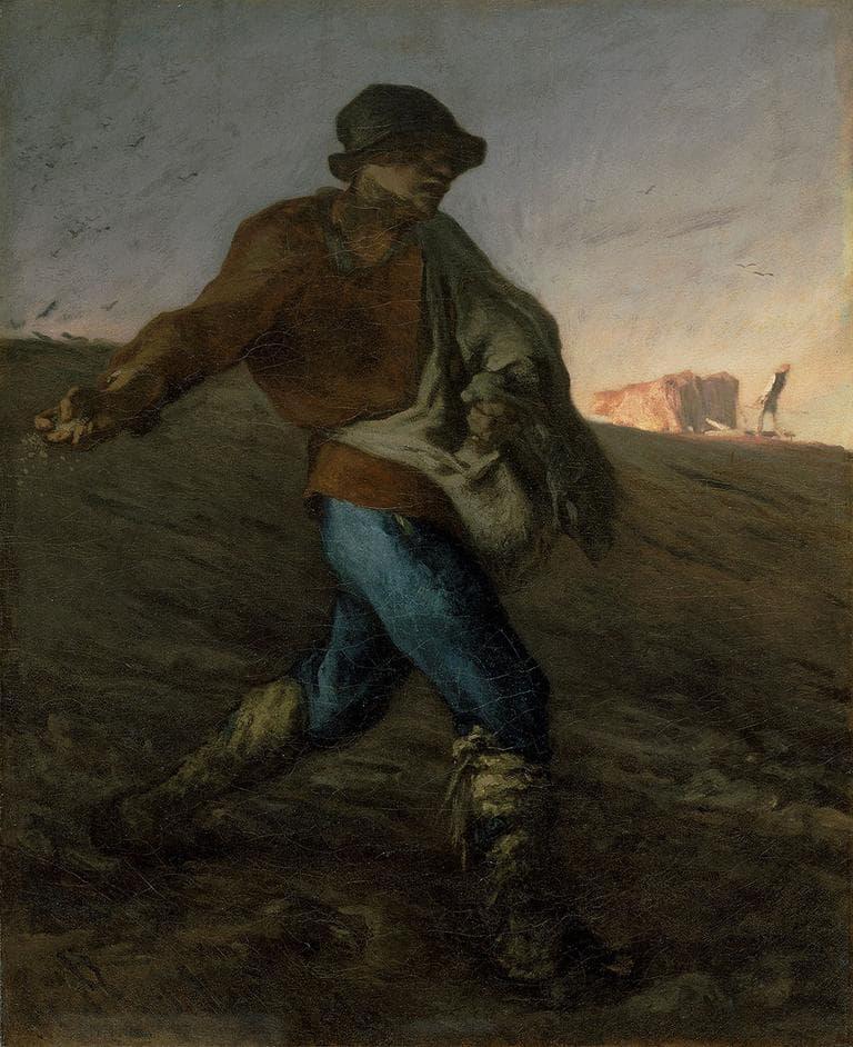 """""""The Sower,"""" Jean‑François Millet, 1850, Oil on canvas"""