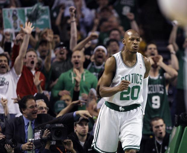 Boston guard Ray Allen celebrates his three-point shot against Cleveland in the first half of Game 6 in a second-round playoff series in Boston on Thursday. The Celtics won 94-85. (AP)