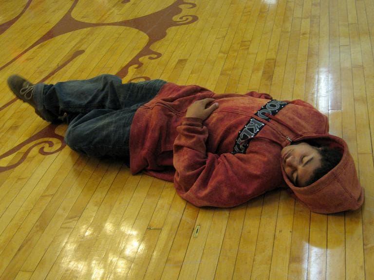 Caleb, acting as a corpse (Andrea Shea/WBUR)