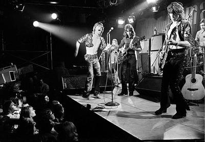 The Rolling Stones playing during their farewell performance at London's Marquee Club, Wardour Street, England, March 26, 1971. The band members are, from left, Mick Jagger, vocals; Mick Taylor, guitar; Keith Richards, guitar; and Charlie Watts, drums.  (AP)
