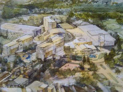 An artist's rendering of the proposed resort-style casino in Fall River (Steve Brown/WBUR)