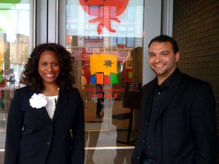 Ayanna Pressley and Felix Arroyo, Boston city councilors at large, at the Harlem Children's Zone in New York on Tuesday. (Adam Ragusea/WBUR)