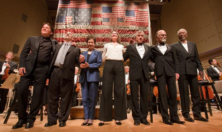 "From left, Keith Lockhart, Peter Boyer, Lynn Ahrens, Cherry Jones, Robert De Niro, Ed Harris and Morgan Freeman at the ""Dream Lives On"" premiere Tuesday at Symphony Hall. (Micheal J. Lutch) (Click to enlarge)"