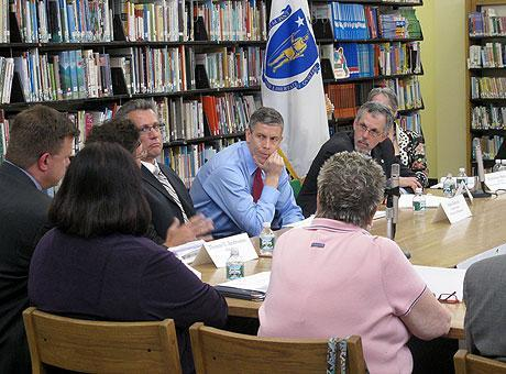 Arne Duncan, in a meeting with Boston educators last week (WBUR)