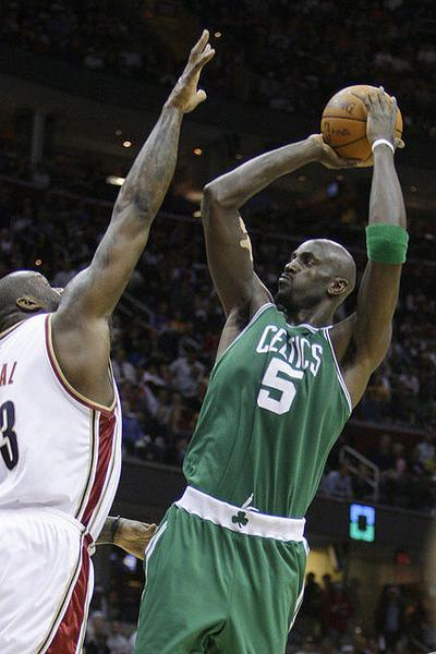 Kevin Garnett shoots over Cleveland's Shaquille O'Neal during Game 5 of the Eastern Conference semifinals in Cleveland. The Celtics won, 120-88, and won the series the next game. (AP)