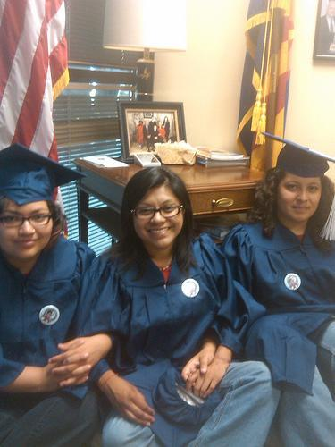 Tania Unzueta (middle) took part in a sit-in at Sen. John McCain's (R-AZ) Tucson office on Monday. She and her friends are pushing for passage of the Dream Act.  (Courtesy Tania Unzueta)