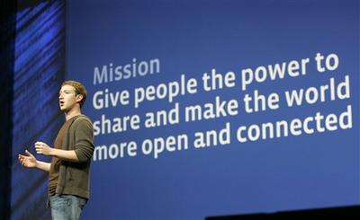 Mark Zuckerberg, founder and CEO of Facebook, delivers the keynote address during the annual Facebook f8 developer conference in San Francisco in 2008. (AP)