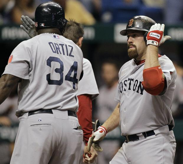 Boston's Kevin Youkilis celebrates with teammate David Ortiz after hitting a fourth inning, two-run home run off Tampa Bay pitcher Lance Cormier during a game Monday in St. Petersburg, Fla. (AP)