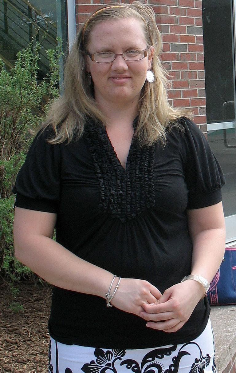 "Holy Cross grad Jill Caughlin calls her $20,000 debt ""manageable."" (Monica Brady-Myerov/WBUR)"