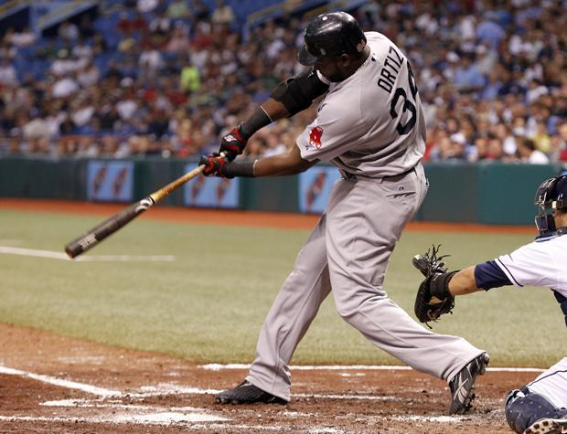 Boston's David Ortiz doubles, knocking in two runs in the third inning of a baseball game against Tampa Bay on Tuesday in St. Petersburg, Fla. (AP)