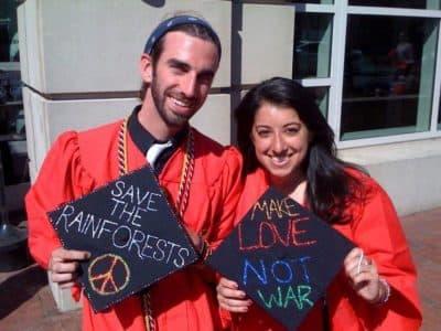 Mike Moore and Karen Steinbrecher are graduates of the Boston University Class of 2010. (Adam Ragusea/WBUR)