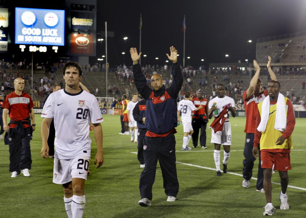 United States players, including Tim Howard, center, and Heath Pearce (20) acknowledge fans while walking off the pitch after a friendly soccer match against the Czech Republic in East Hartford on Tuesday. (AP)