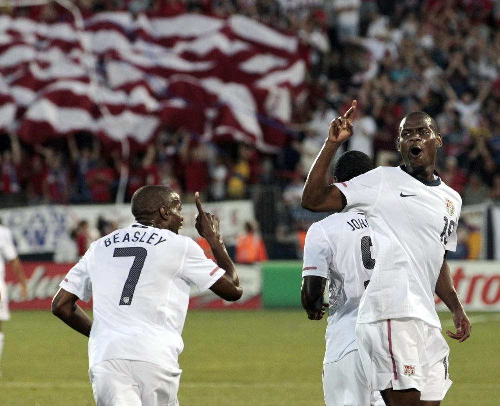 United States' Maurice Edu, right, celebrates his goal against the Czech Republic with teammate DaMarcus Beasley (7) during the first half of an international friendly soccer match in East Hartford, Conn., on Tuesday. (AP)