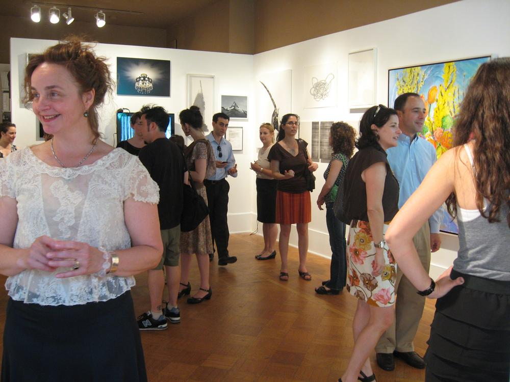The opening party for the Judi Rotenberg Gallery's final exhibition. (Andrea Shea/WBUR)