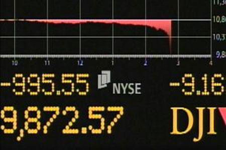 A trading screen during yesterday's market volatility, May 6, 2010. (Credit: tricities.com)