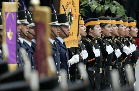 Mexican military cadets salute during a ceremony in Mexico City, Sept. 13, 2007, commemorating six Mexican military cadets who refused to retreat in the battle of Chapultepec in 1847 during the Mexican-American War, and fought to the death against superior U.S. forces. (AP)