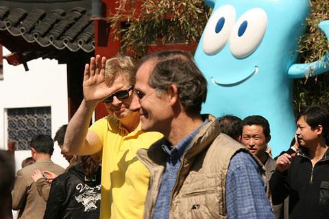 Tom Ashbrook, left, and David Westendorff, 2008, in Shanghai, during On Point's week of broadcasting from China. (WBUR)