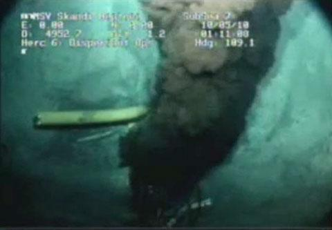 This undated image from video provided by the Senate Environment and Public Works Committee, received from British Petroleum (BP PLC) shows oil gushing from the blown well in the Gulf of Mexico, where the Deepwater Horizon rig sank last month. Questions remained about just how much oil is spilling from the well. (AP Photo/Senate Environment and Public Works Committee)