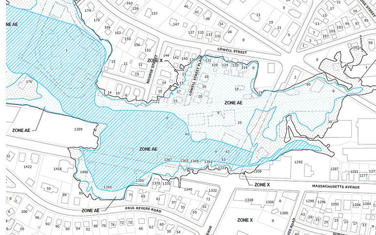 "Click to enlarge: A screen shot of a flood zone map in Arlington's Section 5. The dotted blue-green spaces are ""special flood hazard areas."" (Courtesy FEMA)"