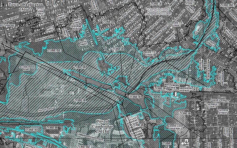"Click to enlarge: A screen shot of the newly established flood zone map in Cambridge, by the city's borders with Arlington and Somerville. The dotted blue-green spaces are the ""special flood hazard areas."" (Courtesy FEMA)"