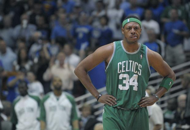 Boston forward Paul Pierce waits for play to resume during the first half of Game 5 against the Orlando Magic in the NBA Eastern Conference finals in Orlando, Fla. last Wednesday. (AP)