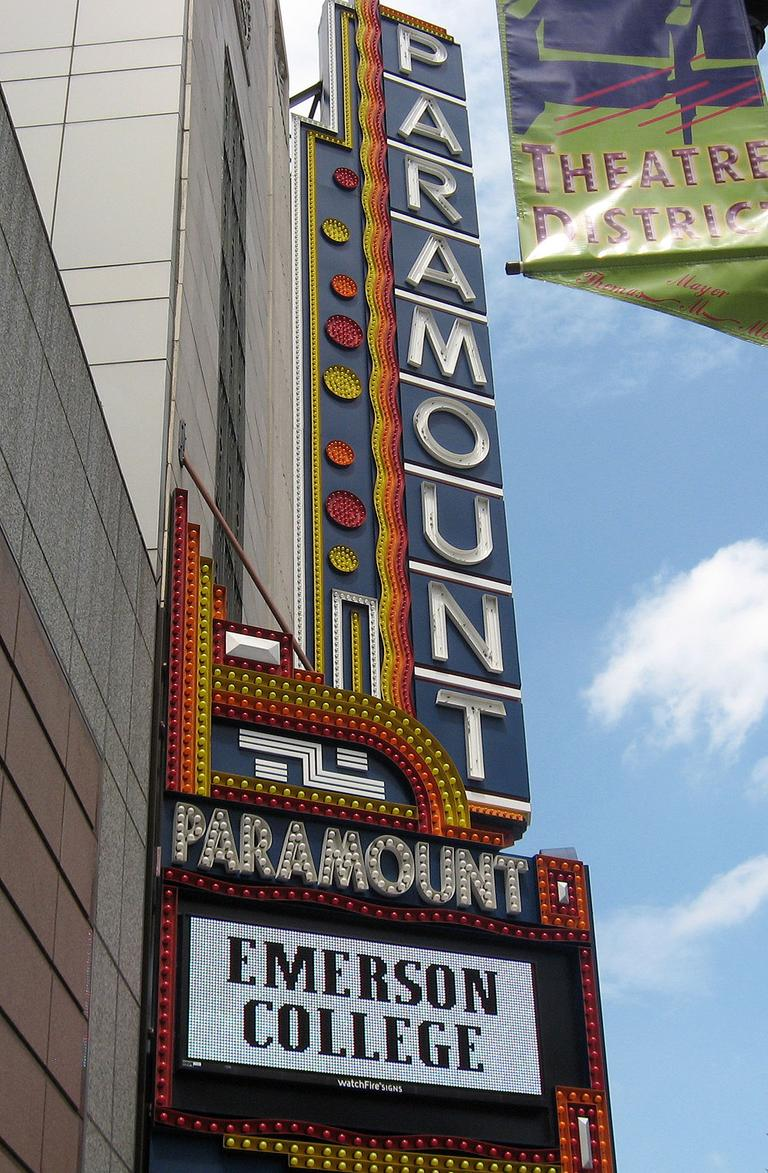 The restored Paramount Theatre, as part of Emerson College's new complex. (Andrea Shea/WBUR)