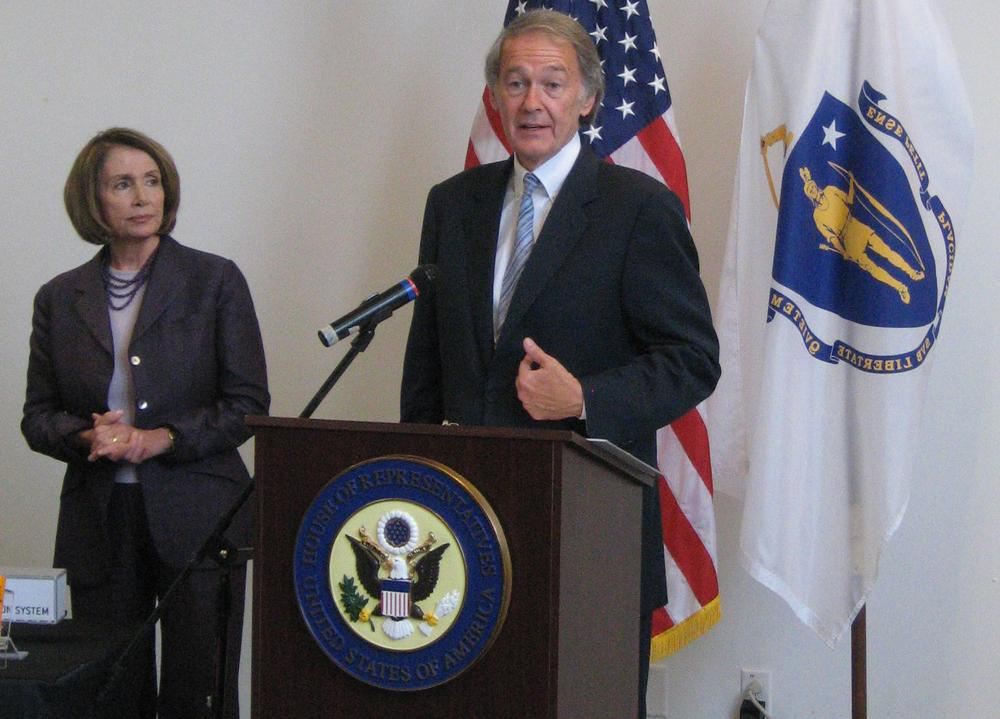 Rep. Edward Markey speaks about the effort to clean up the oil spill in the Gulf of Mexico, as Rep. Nancy Pelosi looks on. (Curt Nickish/WBUR)