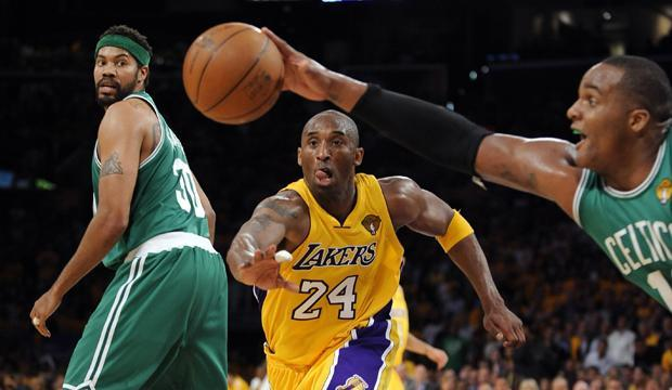 Boston forward Glen Davis and Los Angeles guard Kobe Bryant, go after a rebound as center Rasheed Wallace looks on during the second half in Game 1 of the NBA finals on Thursday in Los Angeles. (AP)