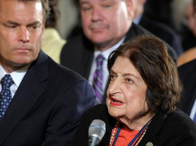Veteran journalist Helen Thomas leaves amid controversy over remarks she made about Israel and Palestinians. (AP)