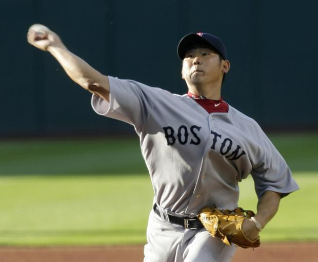 Boston's Daisuke Matsuzaka pitches against Cleveland in the first inning in the game on Monday in Cleveland. Boston won 4-1 over Cleveland. (AP)