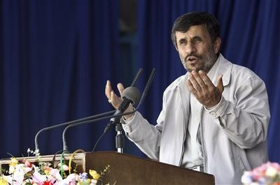 Iranian President Ahmadinejad, speaks at a public gathering in the city of Kerman, southeast of the capital Tehran, Iran. (AP)