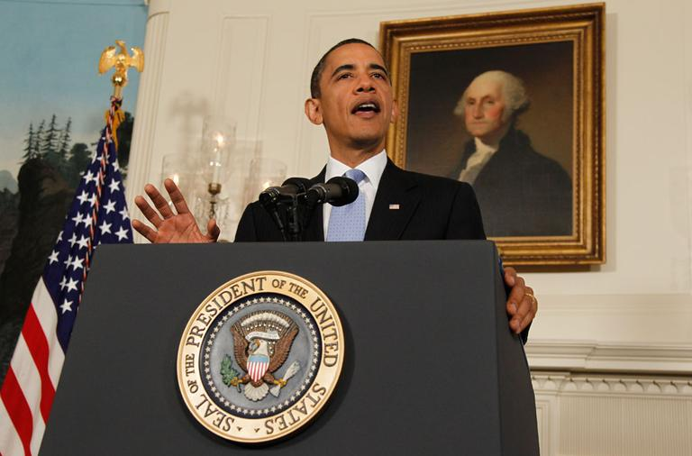 President Obama makes a statement about Iran on Wednesday in the Diplomatic Reception Room of the White House in Washington. (AP)
