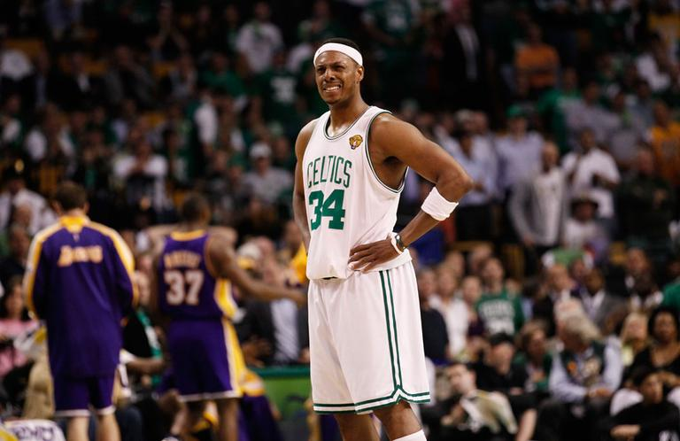 Boston Celtics forward Paul Pierce stands during Game 3 of the NBA Finals against the Los Angeles Lakers on Tuesday in Boston. (AP)