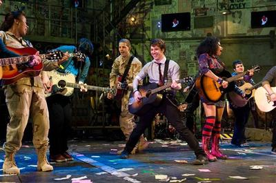 """American Idiot"" cast members at curtain call on opening night, April 20, 2010 (AP)"