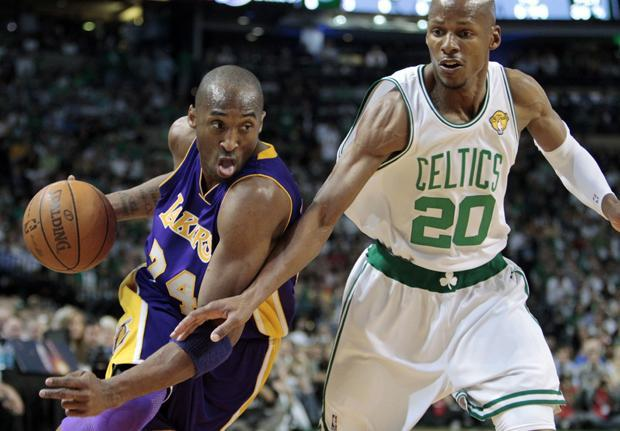 Los Angeles guard Kobe Bryant drives against Boston guard Ray Allen during Game 4 of the NBA Finals on Thursday in Boston. (AP)