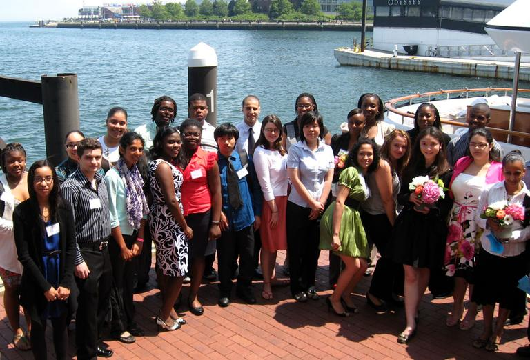 Boston Public Schools valedictorians pose for pictures at a luncheon last week at Boston Harbor Hotel. (Courtesy) (Click to enlarge)