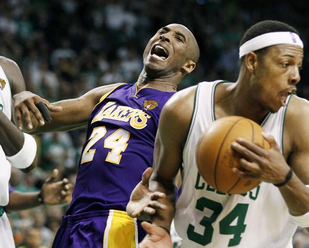 Los Angeles guard Kobe Bryant reacts after Boston forward Paul Pierce ripped away a rebound during the fourth quarter in Game 5 of the NBA finals on Sunday in Boston. (AP)
