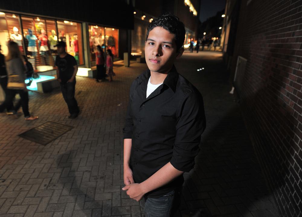 Undocumented Harvard student Eric Balderas, 19, is photographed in Harvard Square in Cambridge. (AP)
