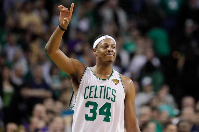 Boston Celtics forward Paul Pierce celebrates during Game 5 of the NBA Finals on Sunday in Boston. (AP)