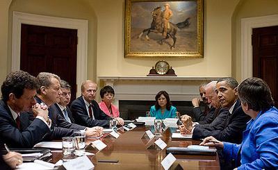President Obama and Vice President Joe Biden meet with BP executives in the White House on Wednesday. (Pete Souza/White House)