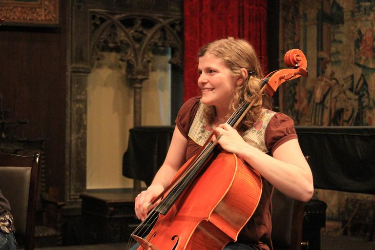 Liz Davis Maxfield plays cello for Chambergrass after spending a year studying the instrument on a Fulbright fellowship in Ireland. (Jeff Carpenter for WBUR)